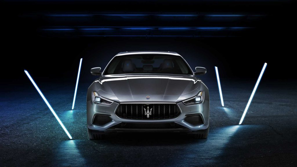 A head-in view of a 2021 Maserati Ghibli in a dimly lit room.