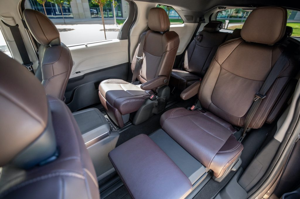 A Sienna Platinum interior shown in Noble Brown leather trim.