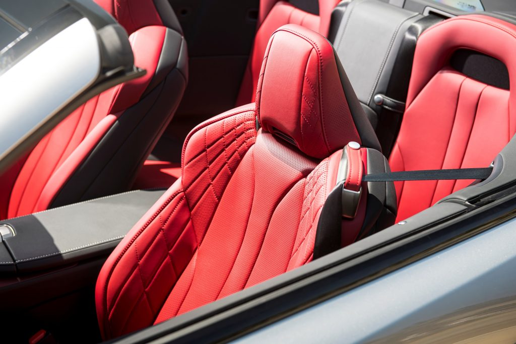 The red seats of the 2021 Lexus LC 500 Convertible.
