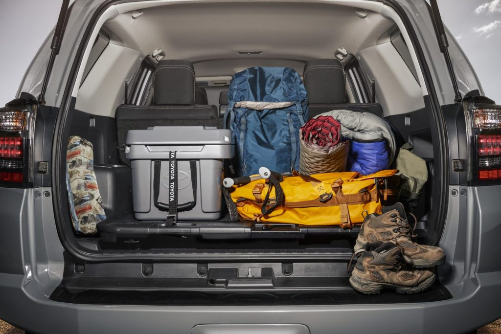 cargo of a trail edition 4runner full of gear