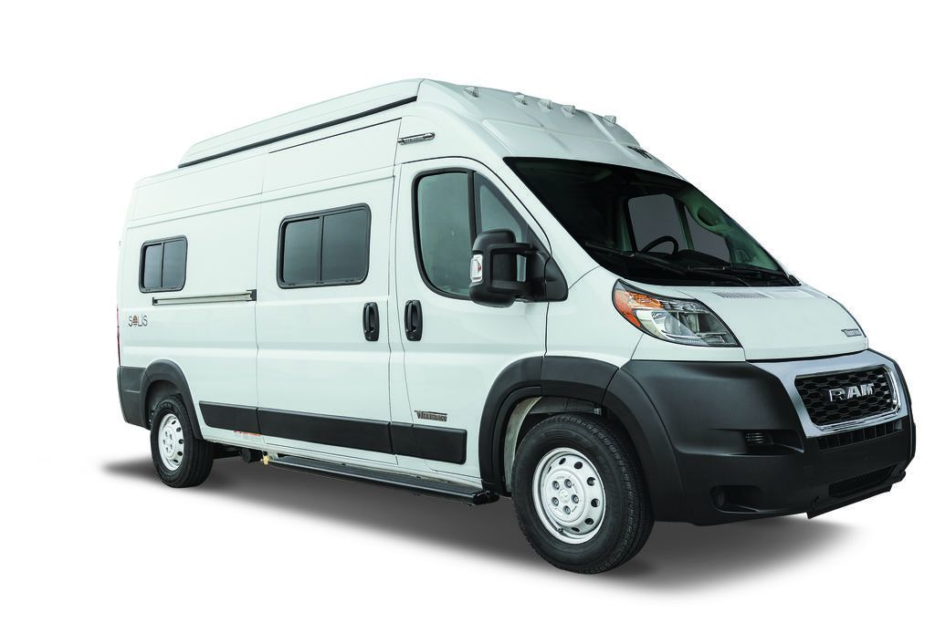front angle of the Solis Camper built on a Ram ProMaster chassis