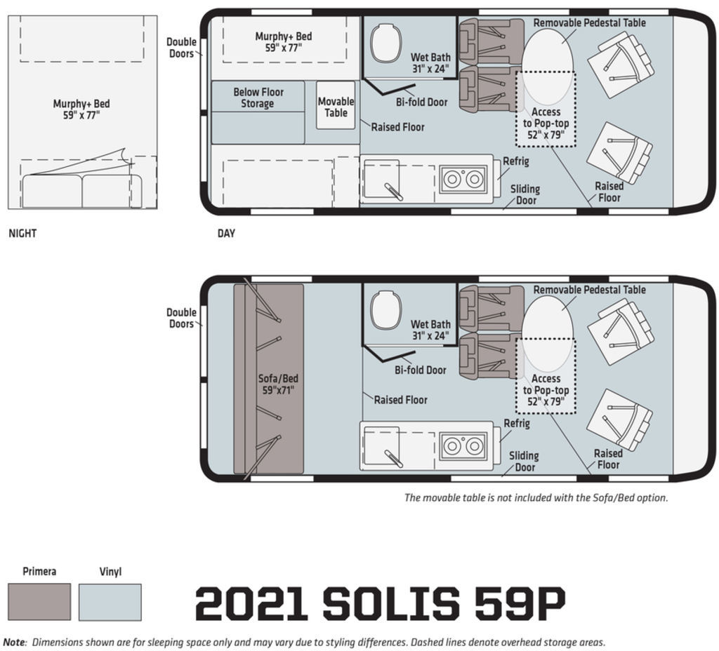 the floor plan of a Winnebago Solis RV