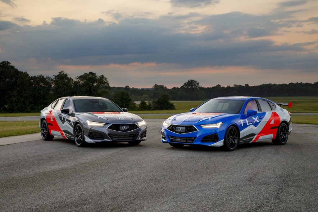 shot of two 2021 TLX type-s race cars