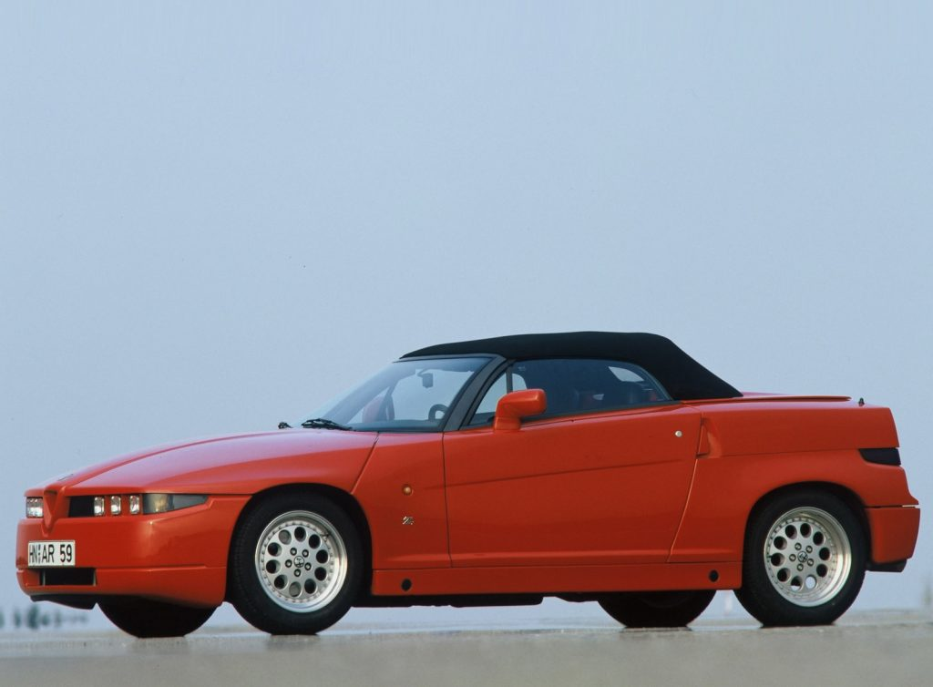 Red Alfa Romeo RZ convertible with its roof up