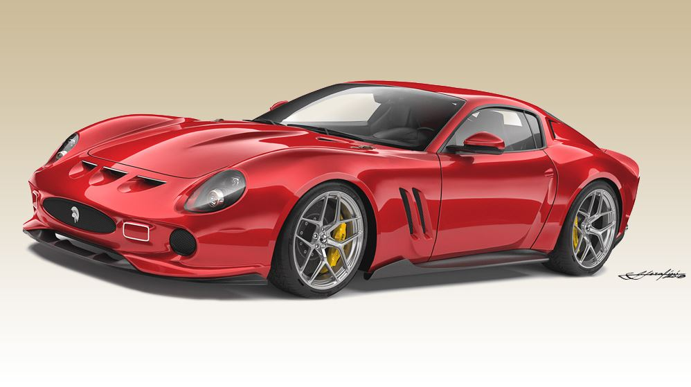 A sketch of the proposed Ares Design tribute to the Ferrari 250 GTO