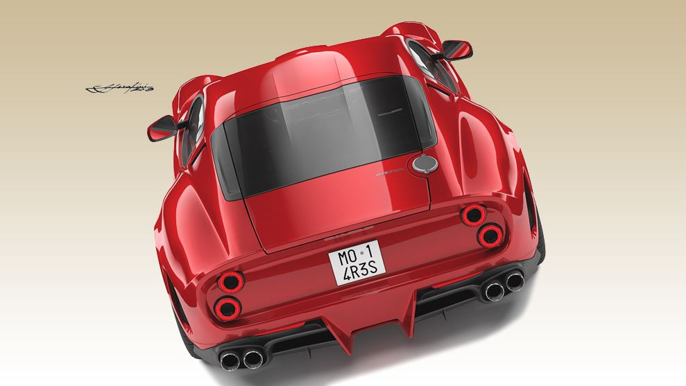 A sketch of the rear of the proposed Ares Design tribute to the Ferrari 250 GTO