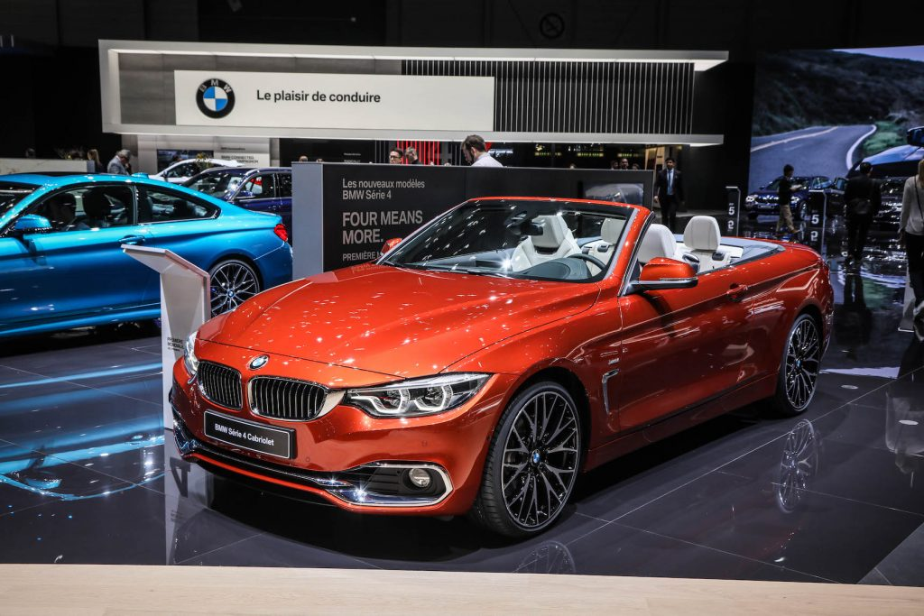 The BMW 4 Series convertible on display during the second press day of the Geneva Motor Show 2017