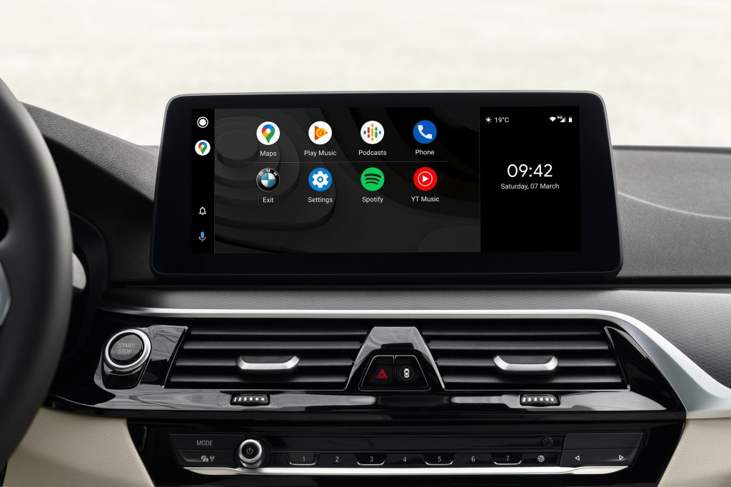 BMW's infotainment screen showing Android Auto functionality