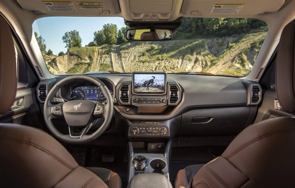 he all-new Bronco Sport small SUV comes standard with an 8-inch touchscreen, which gives the driver a close look at the trail ahead courtesy of an available class-exclusive front off-road camera. (Pre-production model pictured.)