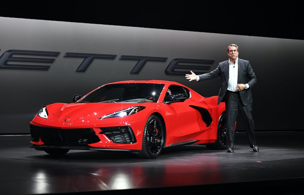 Mark Reuss, president of General Motors Company, unveils the 2020 Chevy C8 Corvette Stingray