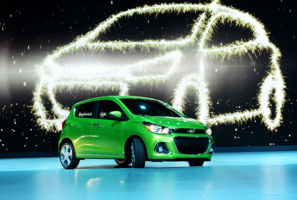 The 2016 Chevrolet Spark is presented during the press preview of the 2015 New York International Auto Show