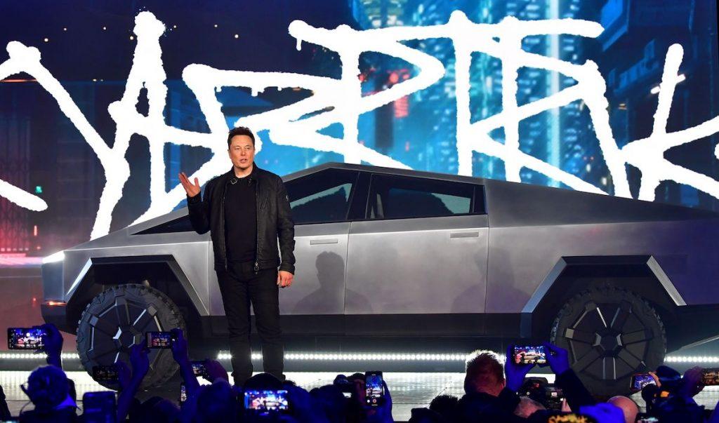 Elon Musk introducing Cybertruck