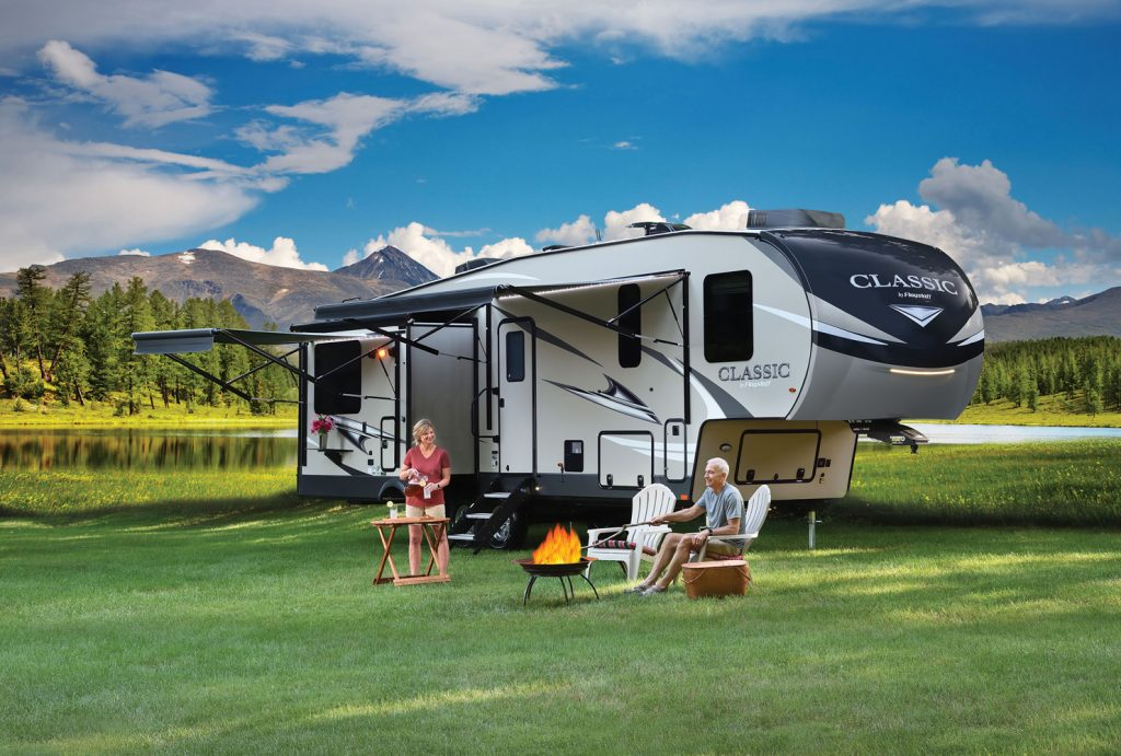 Forest River travel trailer outside set up for camping