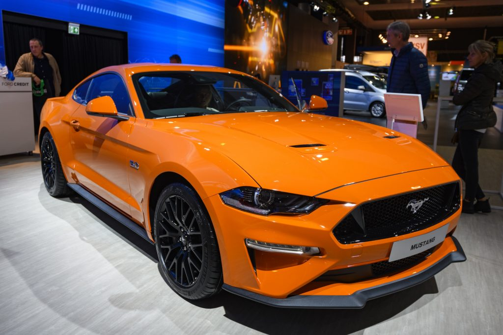 Ford Mustang 5.0 V8 sports car on display at Brussels Expo