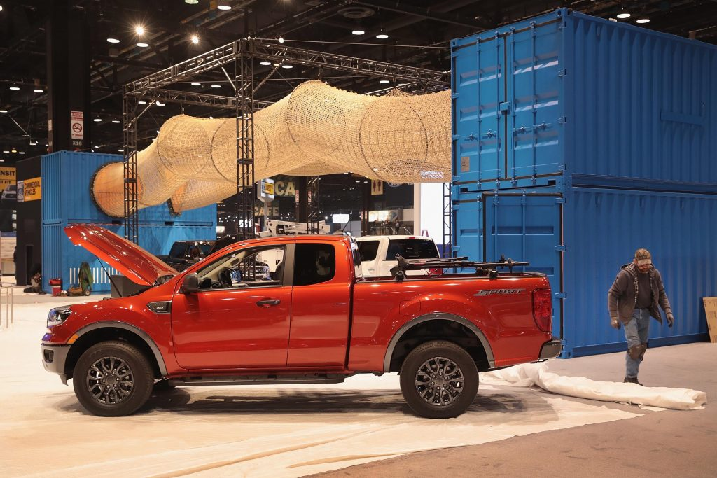 A Ford Ranger on display at an auto show