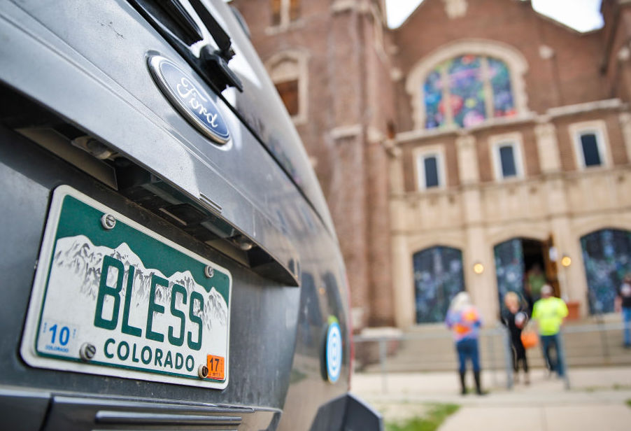 "rear ""Bless"" license plate"