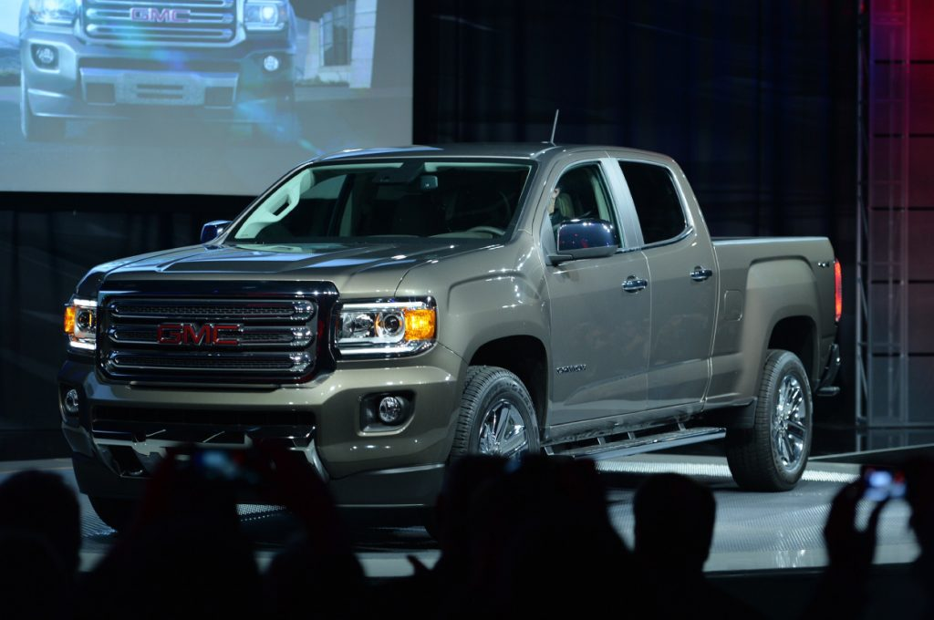 A GMC Canyon truck on display at an auto show