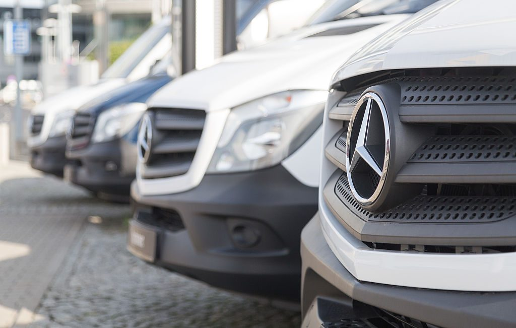 a line up of 2016 Mercedes Sprinter grilles