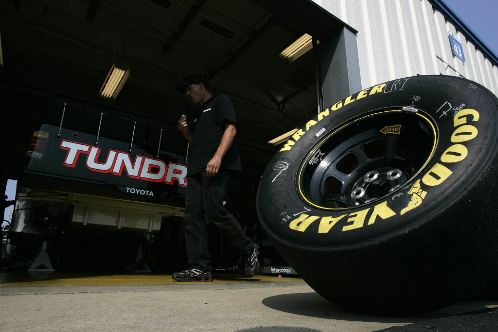 A Goodyear Wrangler tire sits during the NASCAR Craftsman Truck Series Built Ford Tough 225