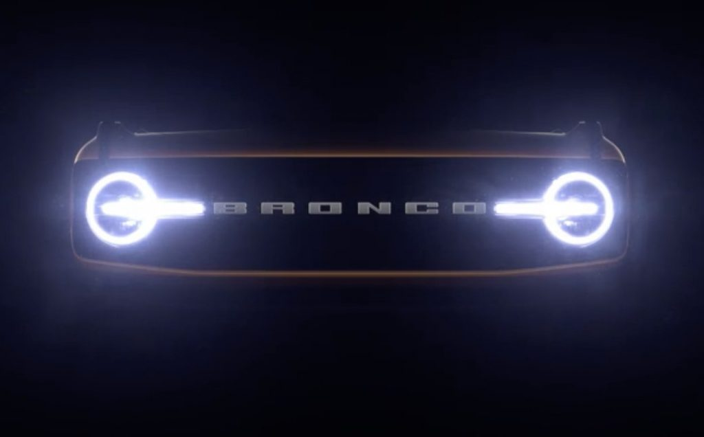 Ford Bronco headlights in the dark