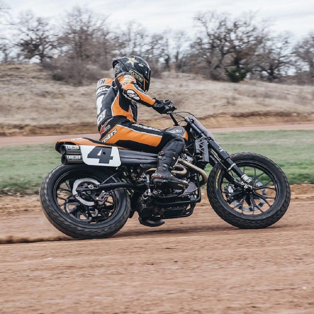 Vance & Hines #4 racer Bryan Smith sliding a Harley-Davidson XG750
