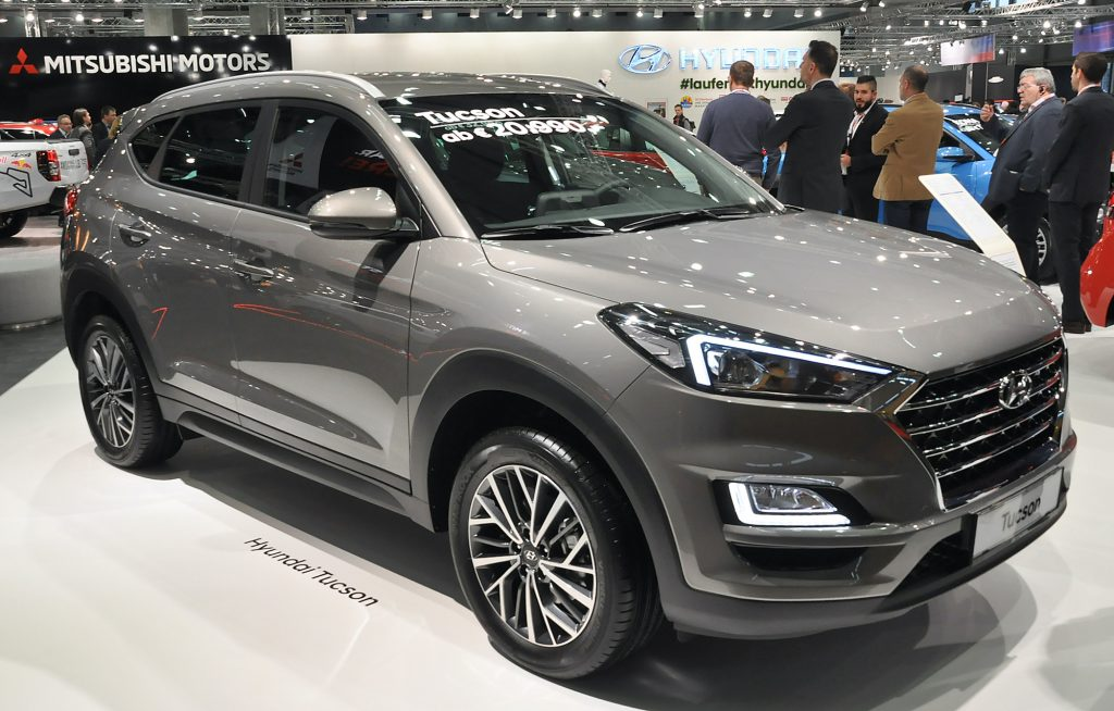 A Hyundai Tucson is seen during the Vienna Car Show press preview at Messe Wien