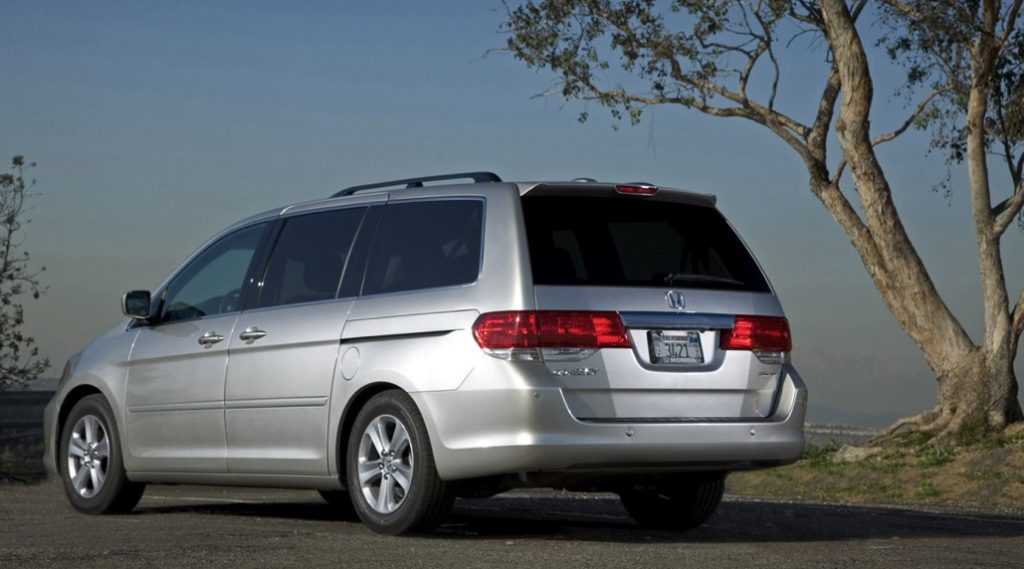 rear view of a silver Honda Odyssey, 2008 model year