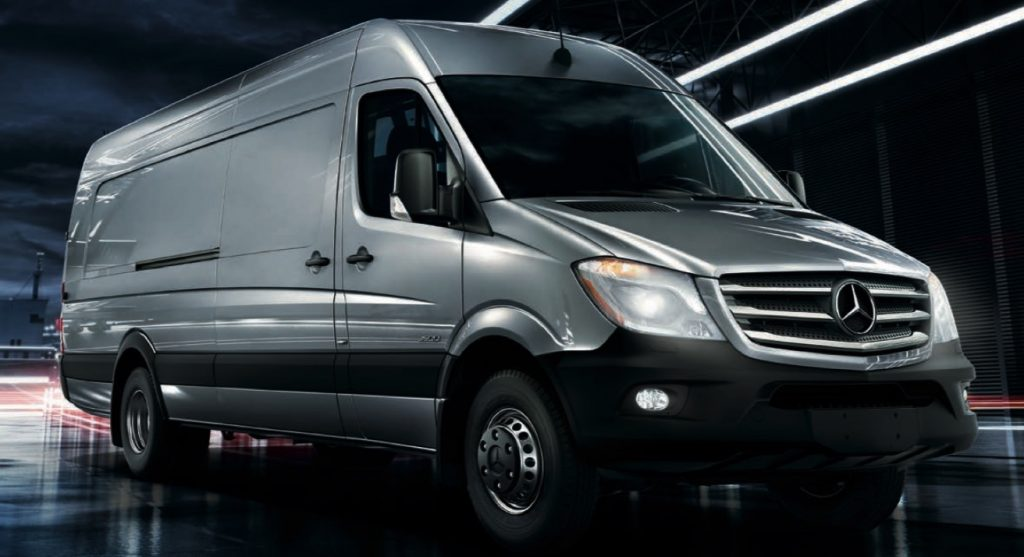 a silver Mercedes Sprinter Cargo van press photo