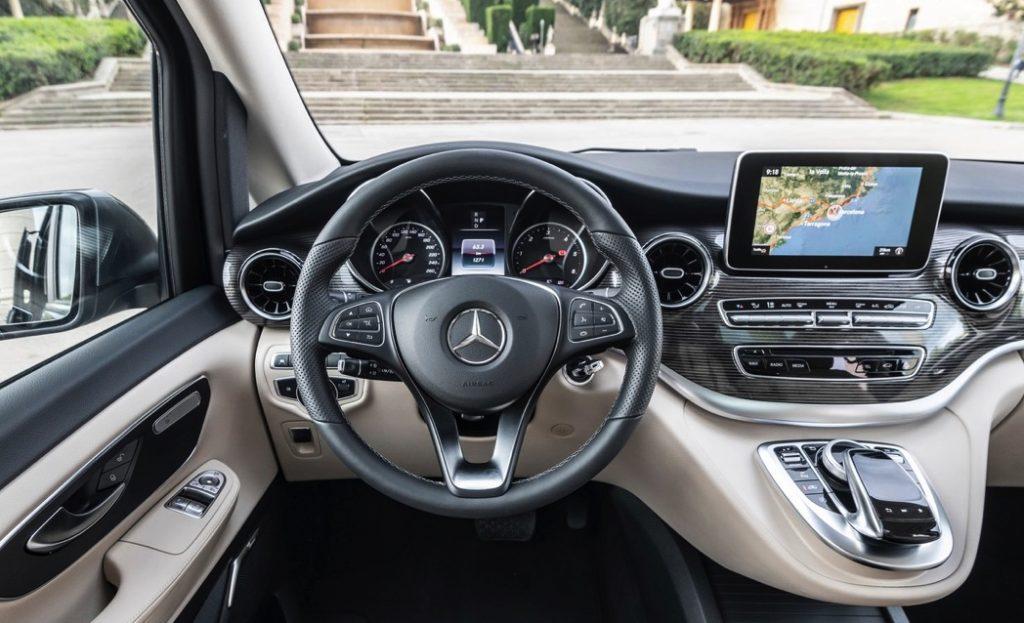 luxurious dash view of the Mercedes-benz v-class minivan