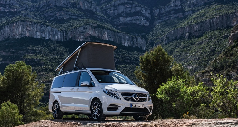 popped-top Marco Polo mercedes minivan camper package in the wilderness