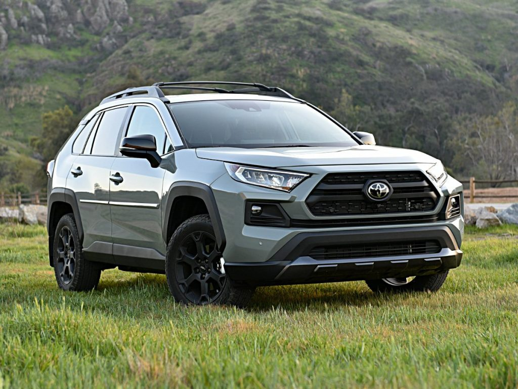 A Lunar Rock 2021 Toyota RAV4 in a field with a mountainous backdrop