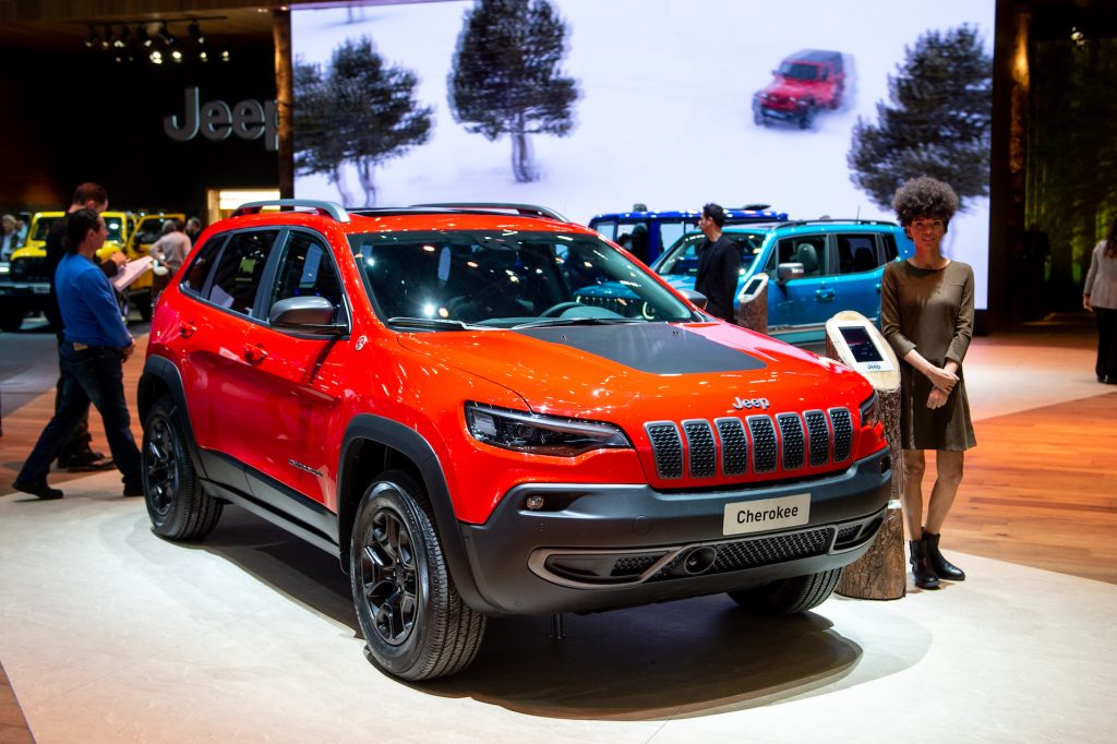 Jeep Cherokee is displayed during the first press day at the 89th Geneva International Motor Show