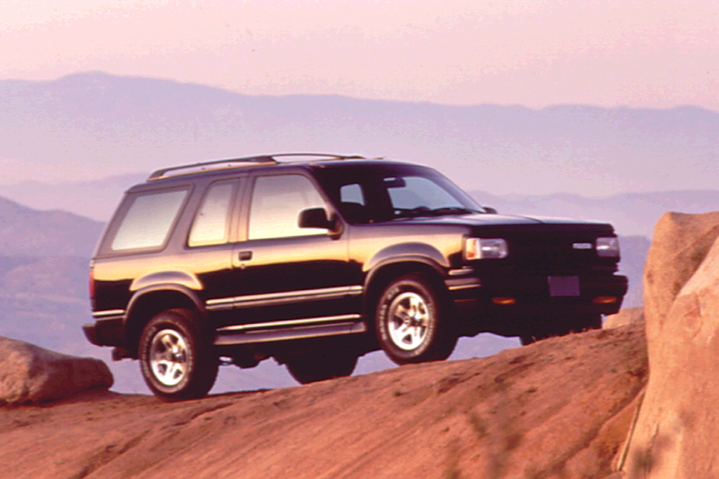 A 1991 Mazda Navajo off-roading in the mountains.