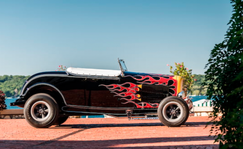 side viewDeuce highboy roadster flamed
