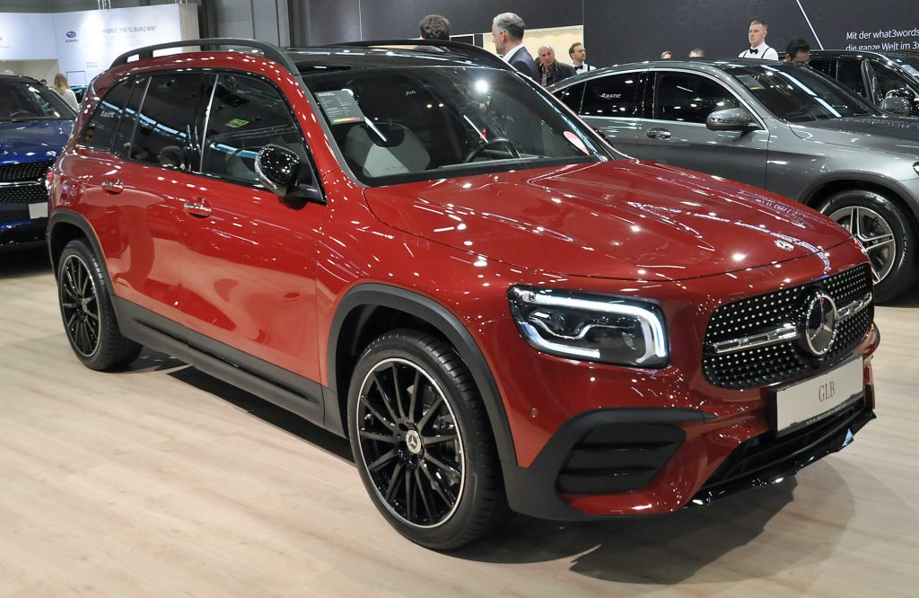 A new Mercedes GLB is seen during the Vienna Car Show press preview at Messe Wien