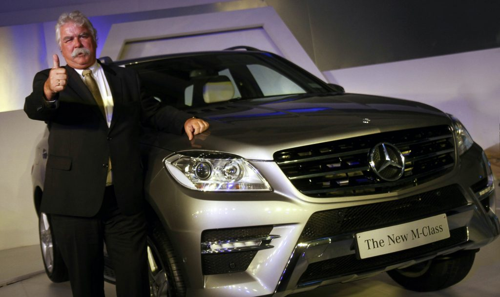 Managing Director & CEO at Mercedes-Benz India Peter Honegg announces the new Mercedes M-class SUV ML350