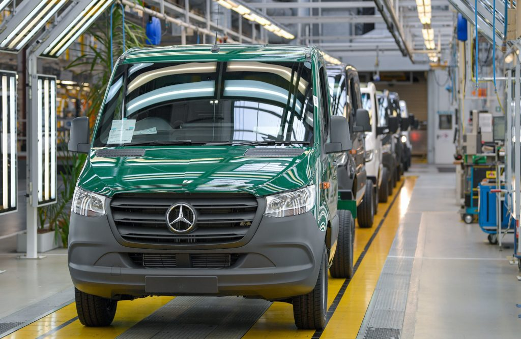 A green Mercedes-Benz Sprinter van on the production line at the Mercedes-Benz AG Ludwigsfelde plant