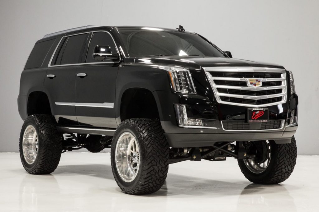 front view of black lifted 2017 Cadillac Escalade