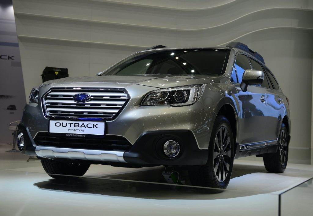 Subaru Outback during the Moscow International Motor Show 'Autosalon 2014' the leading automotive event of the year