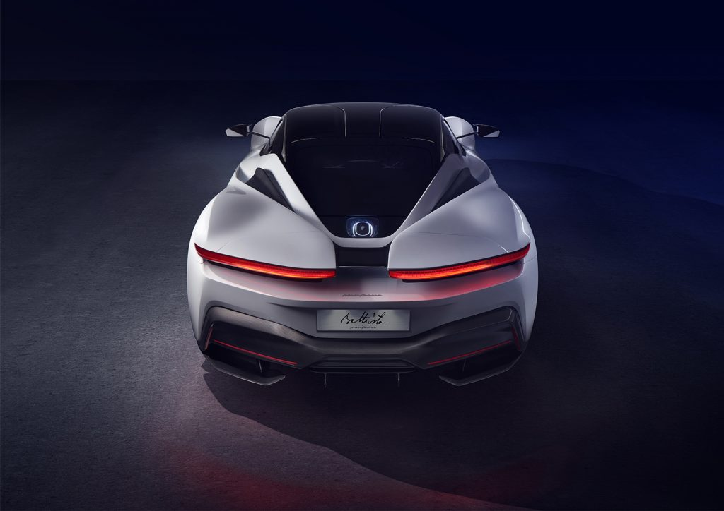 A picture of the rear of the white and black Pininfarina Battista.