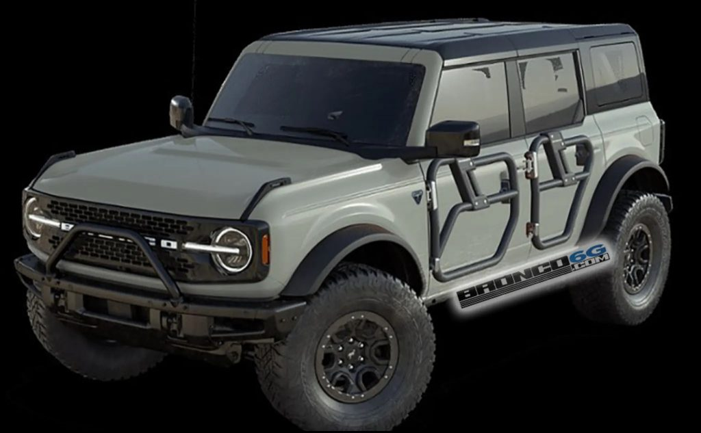 A render of a green 2021 Ford Bronco with tube doors