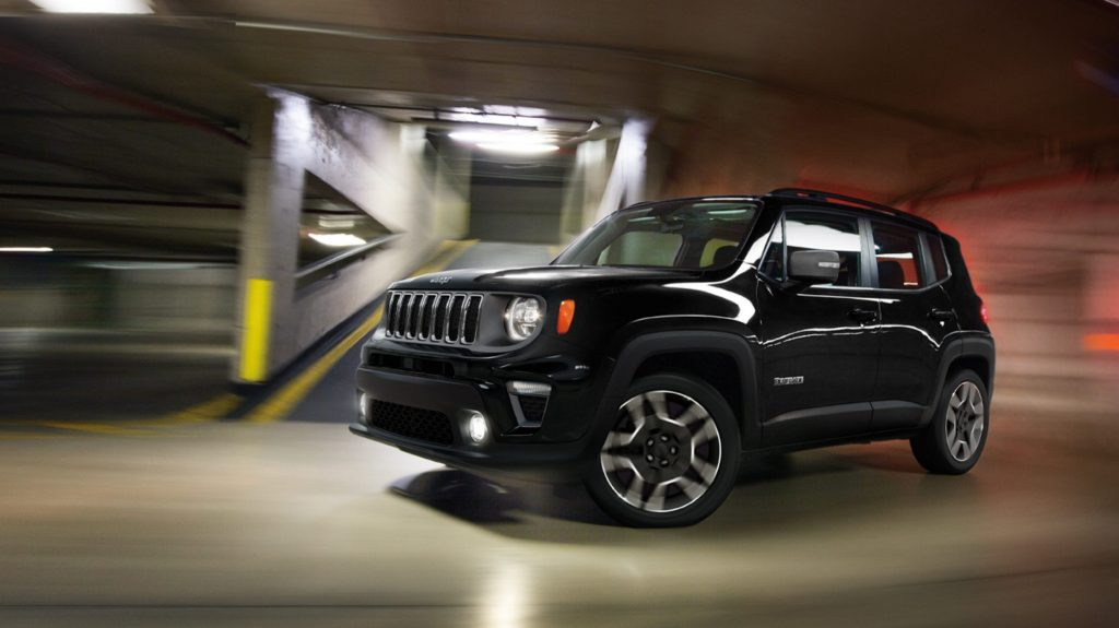 2020 Jeep Renegade driving through parking garage