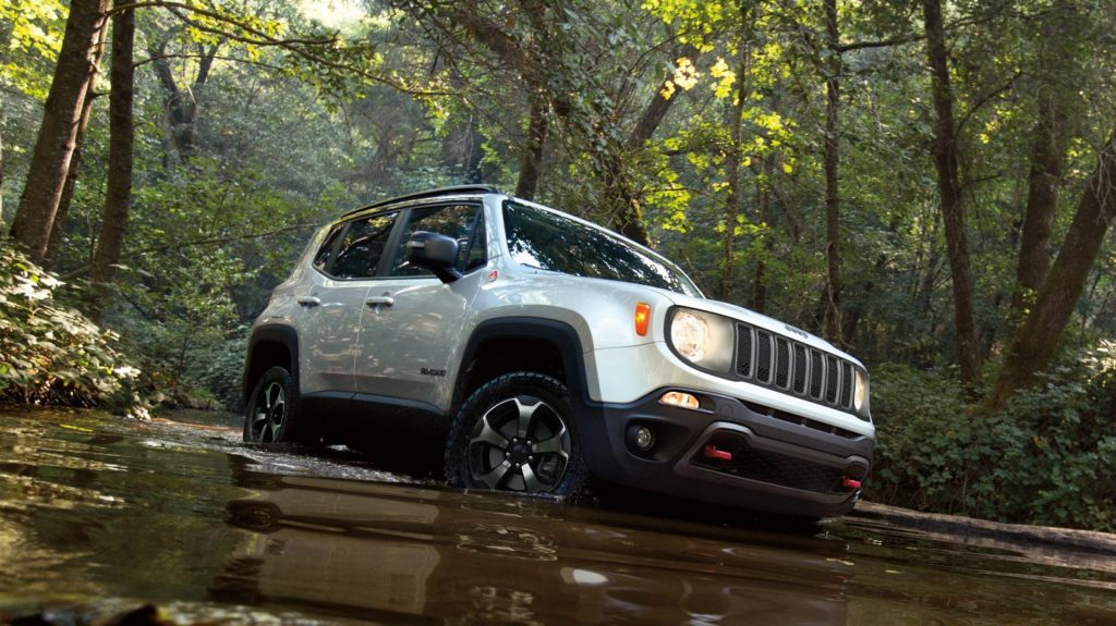 2020 Jeep Renegade off-roading through water. It can come equipped with the Tigershark engine.