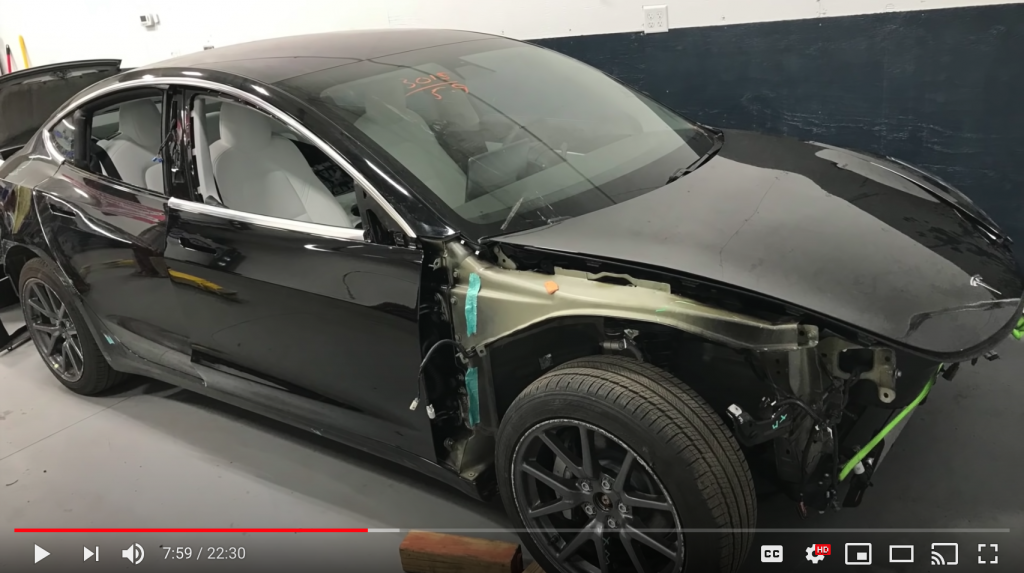 wrecked Tesla Model 3