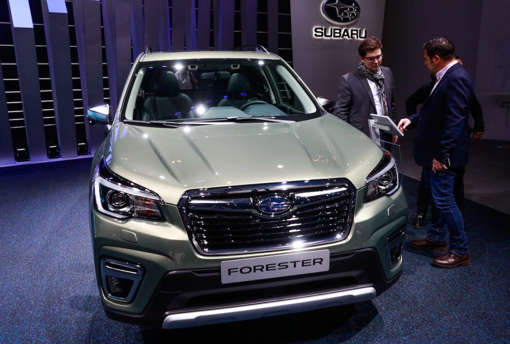 A Subaru Forester – sibling to the Subaru Outback – on display at the 89th Geneva International Motor Show