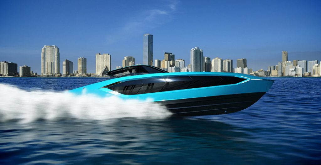 Blue Tecnomar by Lamborghini 63 yacht cutting through the water in front of a city