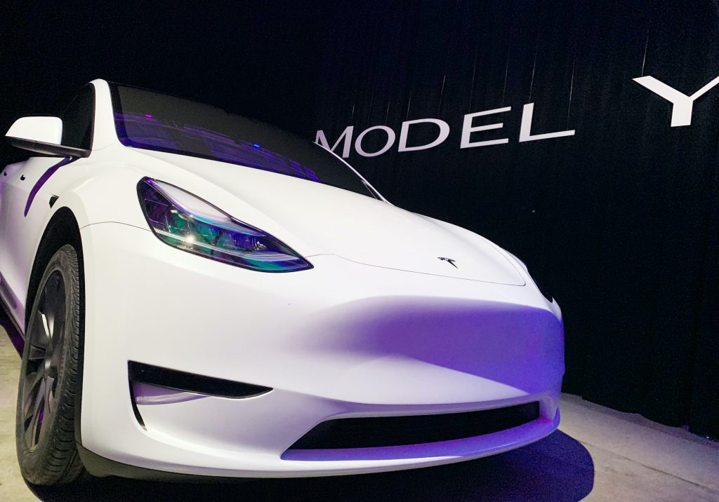 The new Tesla Model Y is introduced. Tesla has expanded its model range to include an SUV