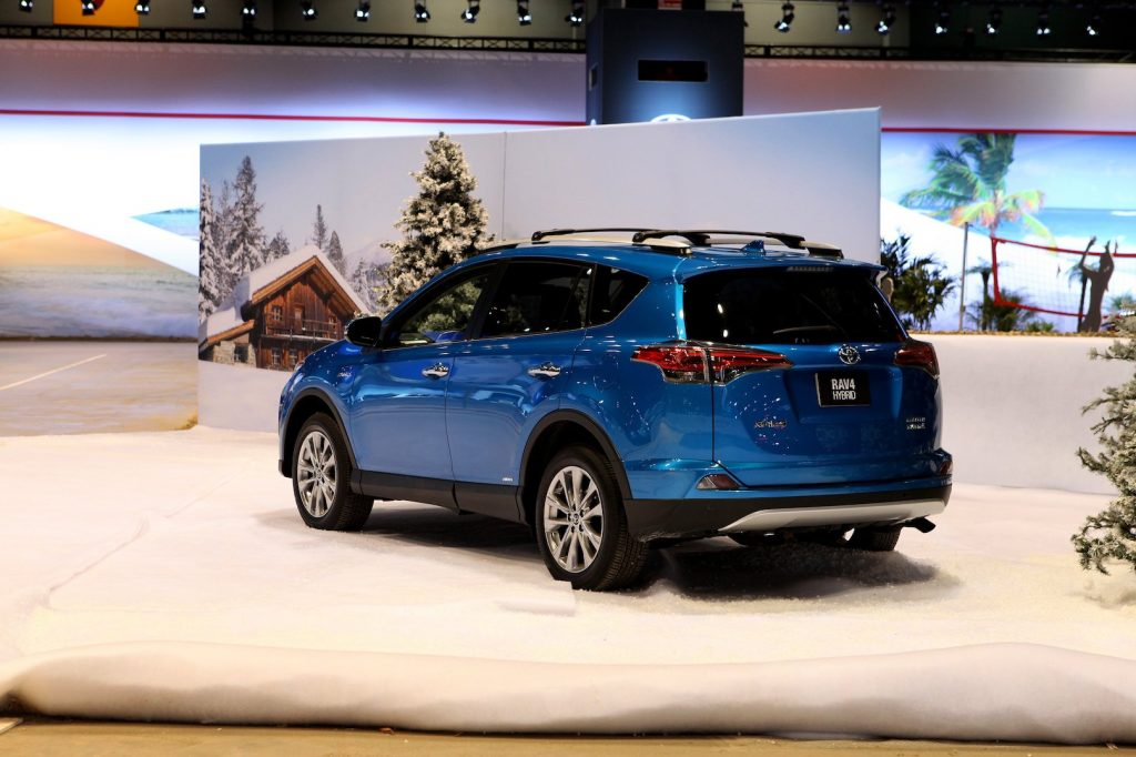 A Toyota RAV4 Hybrid takes to the Toyota 'Blizzard to the Beach Test Track' at the 108th Annual Chicago Auto Show