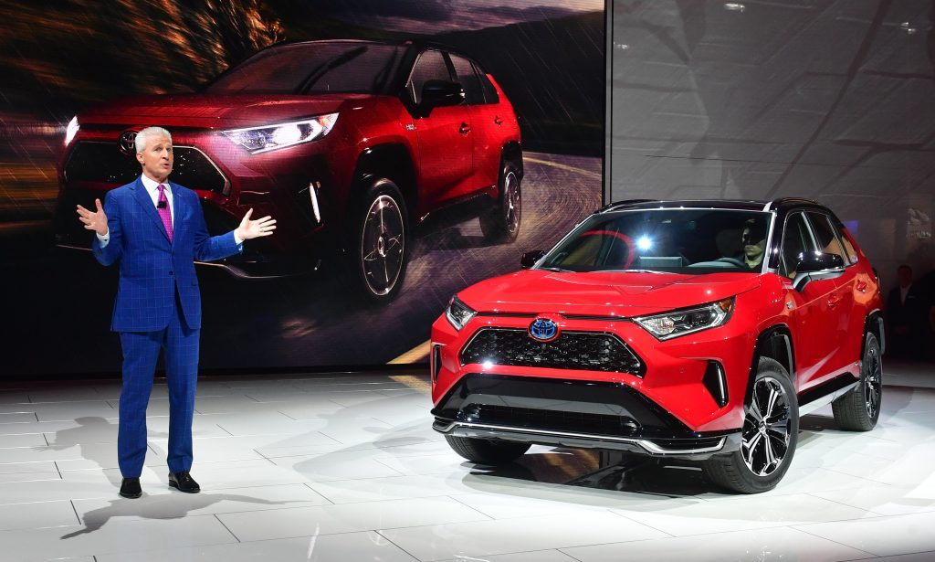 A Toyota RAV4 Prime being debuted