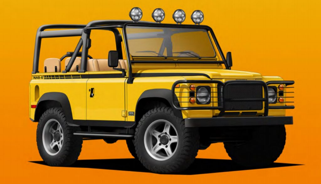 Twisted Automotive's electric Land Rover Defender restomod painted in Malibu Yellow against an orange background